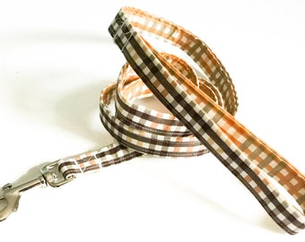 Brown and Orange Gingham Plaid Fall Leash / 1 Ft to 6 Ft Lengths