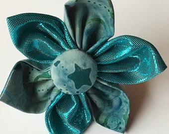 Winter Turqoise Flower Accessory for Dog Collar