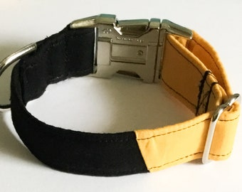 Black and Gold Two Toned College or Casual Collar for Dogs and Cats with Plastic or Metal Buckle Options / Matching Leash Upgrade