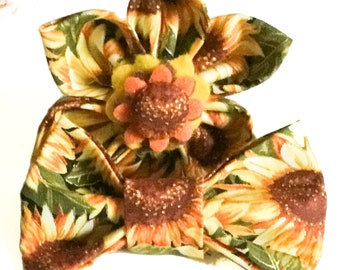 Yellow & Green Sunflower Fall Flower or Bow Tie for Dog or Cat Collar / XXS-XL Flower or Bow tie