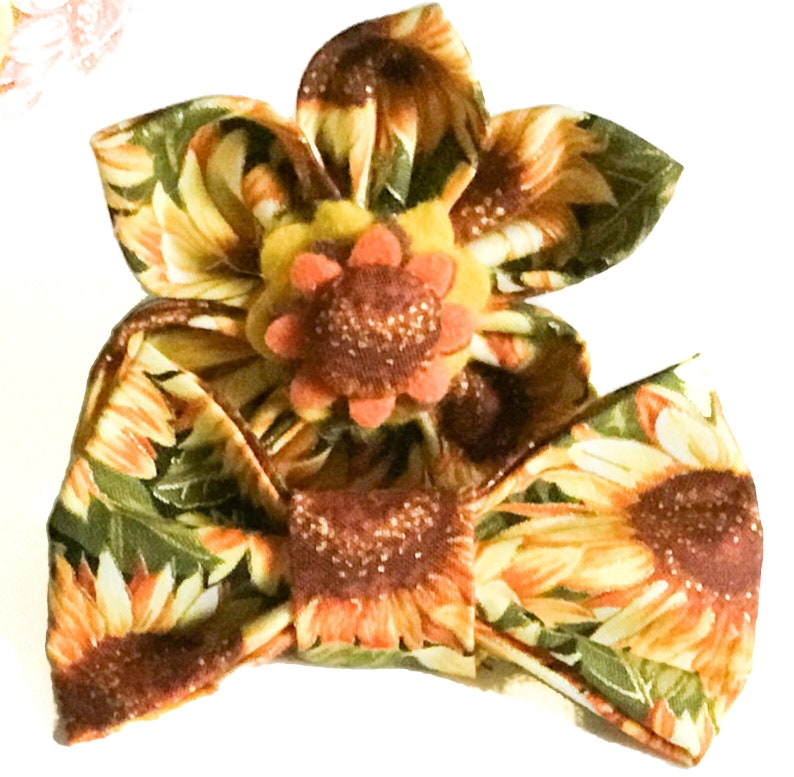 Yellow & Green Sunflower Fall Flower or Bow Tie for Dog or Cat image 0
