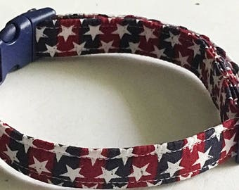 Red & Blue Striped Patriotic Collar With White Stars For Memorial Day or 4th of July/ Buckle or Martingale