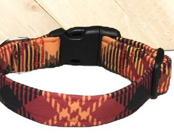 Brown Orange  Burgundy Fall Bias Plaid Dog or Cat Collar/  Martingale or Buckled/ Leash Upgrade