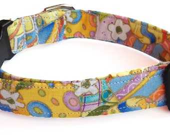 Yellow Floral Easter Egg Dog or Cat Collar With Standard Black Buckle/ Metal Buckle Upgrade/ Leash Upgrade