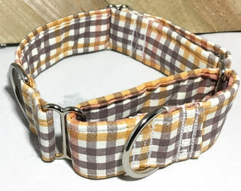 Brown and Orange Fall Gingham Martingale Collar for Male Dog / XS-XL // 5 Ft Fall Leash Upgrade