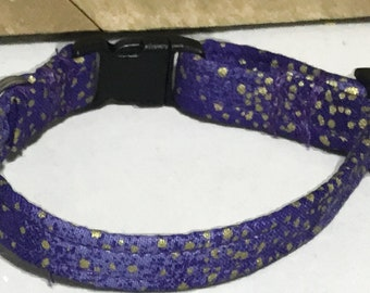 Purple and Gold Breakaway Cat Collar with Bell