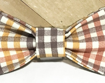 Orange and Brown Fall Plaid Bow Tie for Male Dog or Cat Collar