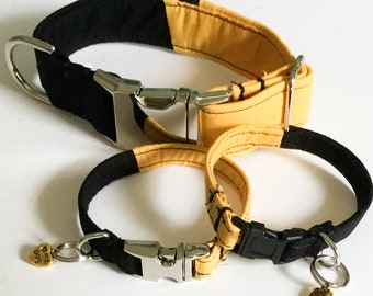 Solid Black and Gold Dog or Cat Collar with Matching Charm Bracelet and Black Plastic Buckle  / Metal Buckle Upgrade /5 Ft Leash Upgrade