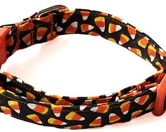 Black and Orange Candy Corn Halloween Collar for Dogs and Cats