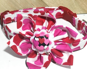 White Valentine's Day Flower Collar with Pink and Red Hearts for Girl Dogs and Cats /Leash Upgrade/ Metal Buckle Upgrade