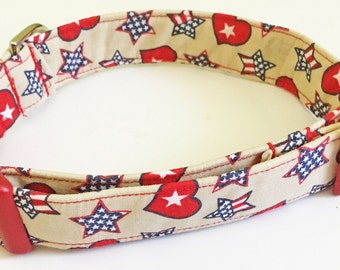Patriotic Holiday Collar for Dog or Cat with Stars & Hearts