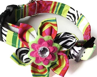 Pink, Green, & Black Watermelon Striped Collar and Flower for Girl Dog or Cat/ Watermelon Flower Collar/ Metal Buckle Upgrade /Leash Upgrade