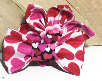 Red Pink & White Heart Valentine's Day Flower or Bow tie for Dog or Cat Collar / Attachable Valentine Collar Accessory