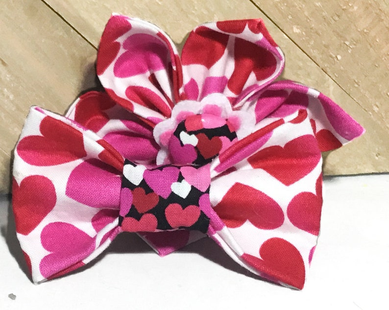 Red Pink & White Heart Valentine's Day Flower or Bow tie image 0