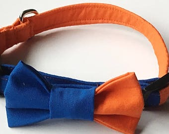 Blue and Orange College and Casual Wear Bow Tie Collar for Male Dogs and Cats//Sports Team Collar//Matching 5 Ft Leash Option