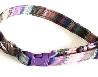Purple and Pink Striped Breakaway Cat Collar with Bell and Options for Matching Bow tie or Flower