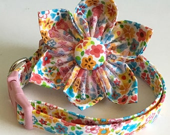 Pink Summer Floral Collar with Matching Flower for Girl Dogs and Cats