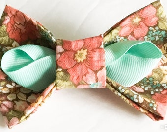 Pink, Salmon, Aqua Floral Attachable Spring or Summer Bow for Dog or Cat Collar
