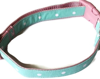 Mint Green Polka Dot & Pink Collar for Girl Dog or Cat / Buckled or Martingale / Metal Buckle Option / Leash Option