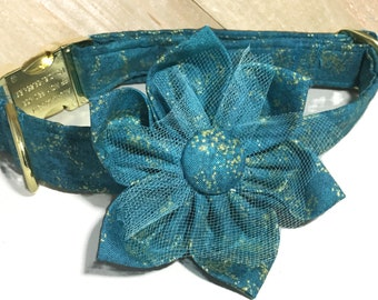 Teal & Gold Metallic Flower Collar For Dog or Cat  With Black Standard Buckle or Metal Buckle Upgrade / Teal Wedding Collar/ Leash Upgrade