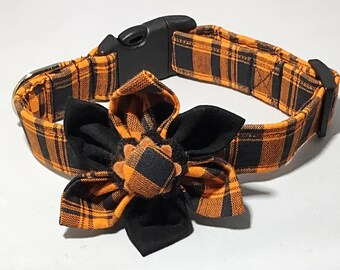 Orange and Black Plaid Halloween Girl Dog Collar with Matching Halloween Flower //Buckled or Martingale//Matching Leash Option//XS-XL