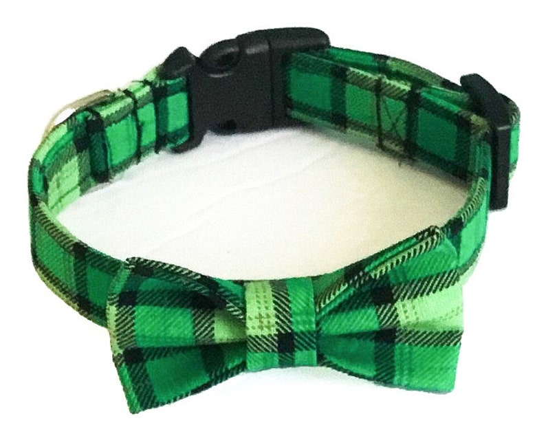 Green and Black St. Patrick's Day Plaid Collar with Bow image 0