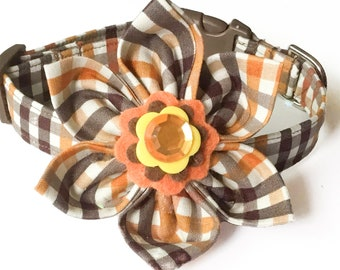 Brown & Orange Plaid Fall Collar With Flower Set For Girl Dog or Cat / Metal Buckle Upgrade /Leash Upgrade