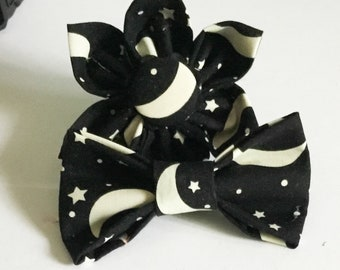 Black Celestial Glow In The Dark Flower or Bow tie for Dog or Cat / Moon and Stars Collar Accessory / XXS-XL