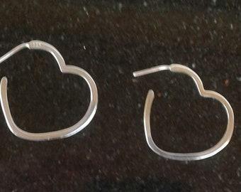 925 sterling silver heart earrings 2 1/2