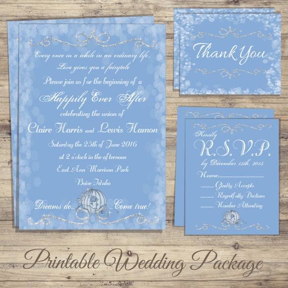 Cinderella Wedding Invitations Kit Fairytale Wedding Etsy
