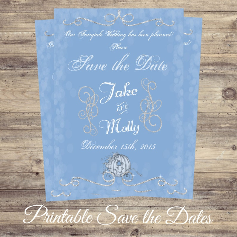 Cinderella Save The Date Fairytale Invitations Wedding Etsy