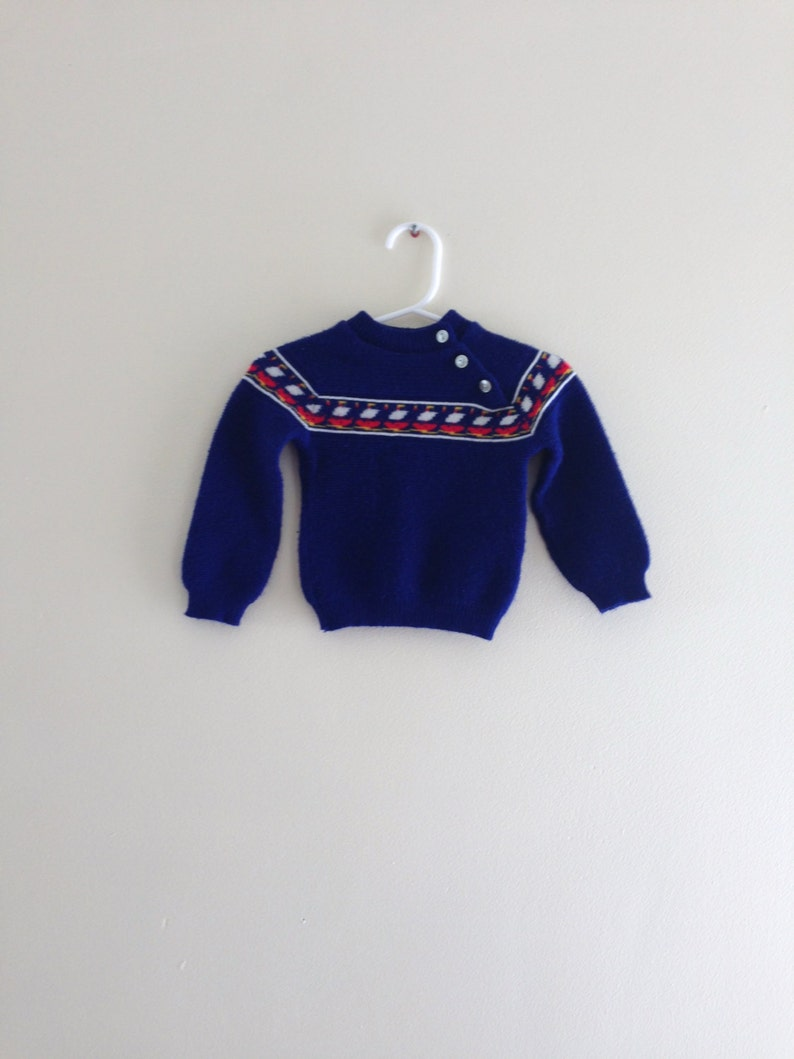 Vintage Danish Sweater  Danish Blue size 3-6 months image 0