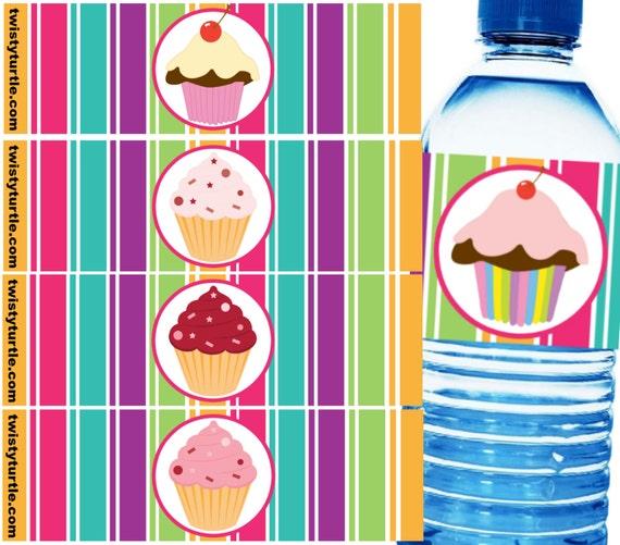 21 Cupcake or Stud Muffin Waterproof Self-Adhesive Water Bottle Labels