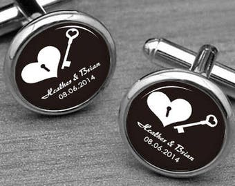 Custom Name and date Cufflinks, Father's Day Gifts, Groom cufflinks, Wedding cufflinks, Birthday Jewelry,heart and  key cufflinks, tie clips