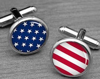 e871efa04523 Custom flag cufflinks, American Flag Cufflinks, Stars And Stripes, USA Cuff  Links, Groomsmen Gift, American Flag, cufflinks for him,Tie Clip