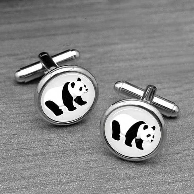 Groom Gift cufflinks for him Black and white cufflinks Personalized cufflinks Silver Groomsmen Cufflinks cufflinks Panda cufflinks