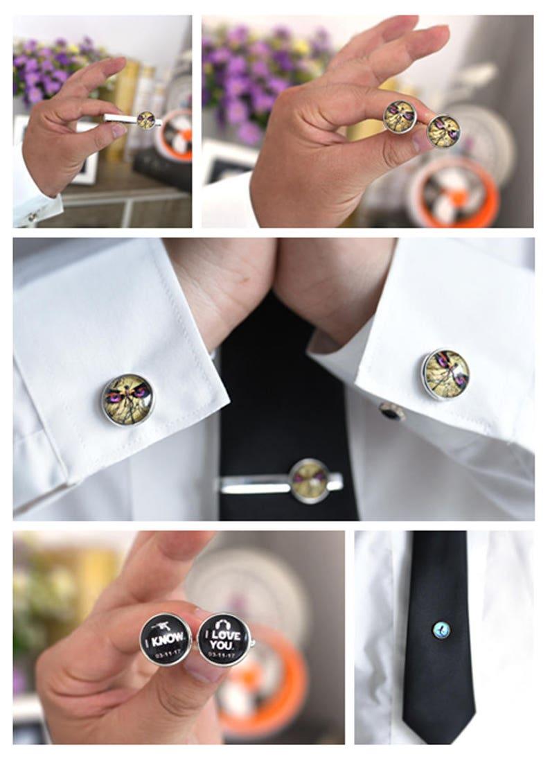 Three initials Monogram Cufflinks Mens Name Jewelry Circle monogram handmade Groomsmen Group Cufflinks Wedding Cuff links Tie Clips