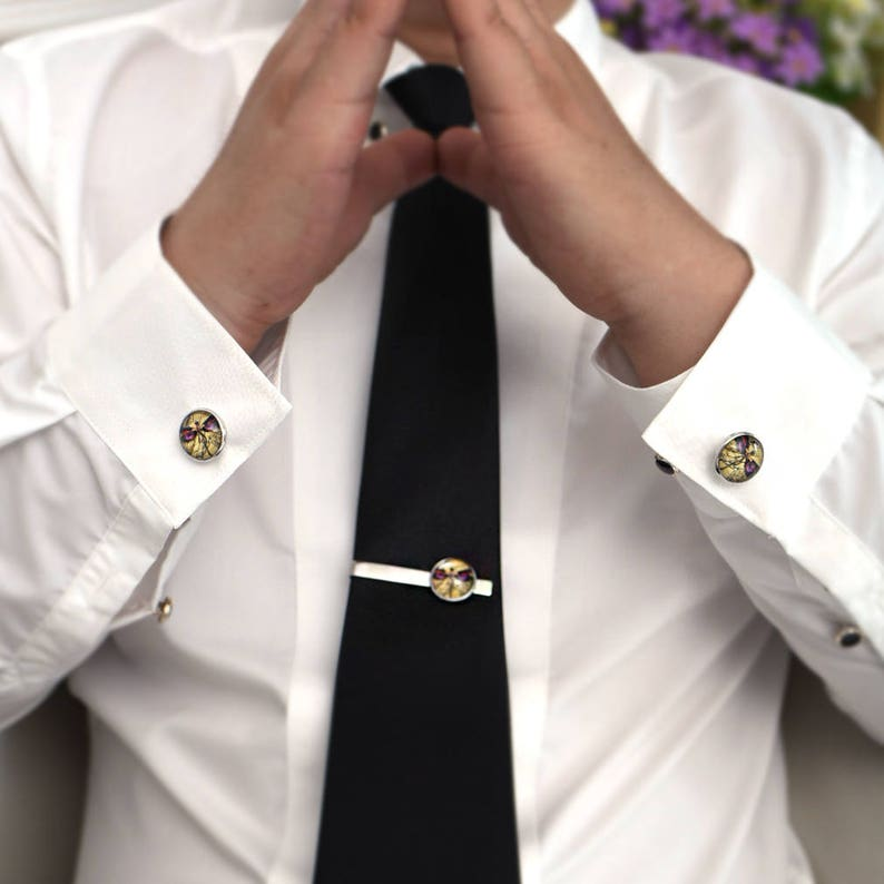 Daddy/'s Wedding Gifts,Step father gift Father of the Groom Cufflinks Dad a son/'s first hero mens wedding gifts Round Glass Tie tacks