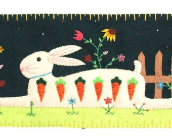 """7""""x 15"""" Spring Time Easter Bunny Rabbit Wool Felted Appliqued Pillow Cushion"""