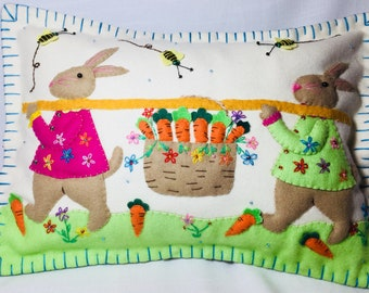 """10""""x 14"""" Spring Time Easter Bunny Rabbit Wool Felted Appliqued Pillow Cushion"""