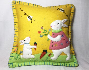 """10""""x 10"""" Spring Time Easter Bunny Rabbit Wool Felted Appliqued Pillow Cushion"""