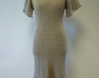 86f81bf387 Artsy knitted pure linen dress