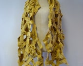 Avant garde yellow wool shawl wrap. Perfect for gift.