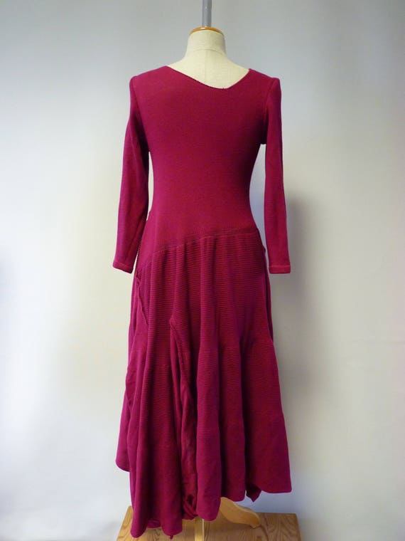 decoration felted dress cotton one Only size with folk soft sample of artsy Exceptional fuchsia M Made nEqXYw6C