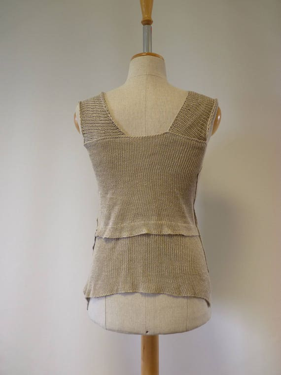 Summer linen size top style Feminine boho M natural r57nqxI6r