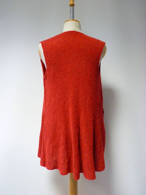 sample one of Made soft Boho only size red artsy knitted wool vest M PZ7OFR