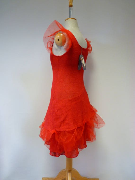 M linen dress size tulle red Exceptional with xBXwpaXg