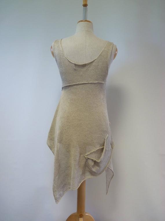 linen Summer size pure asymmetrical M natural of Made linen top g8zngxqr