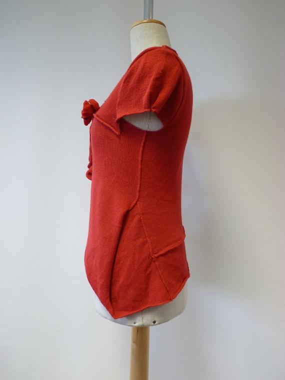 Handmade M Feminine soft wool fashion blouse and size made of woollen italian red together irregular r7wIUqYr
