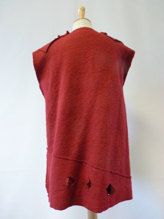 wine price sample Artsy L felted burgundy size vest Special handmade one Only f4RBqB